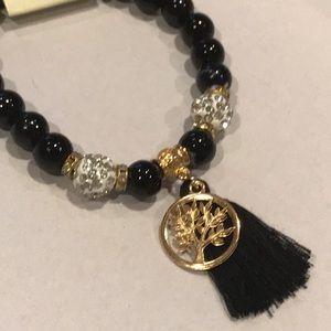 Jewelry - Black bead crystal tree of life tassel bracelet